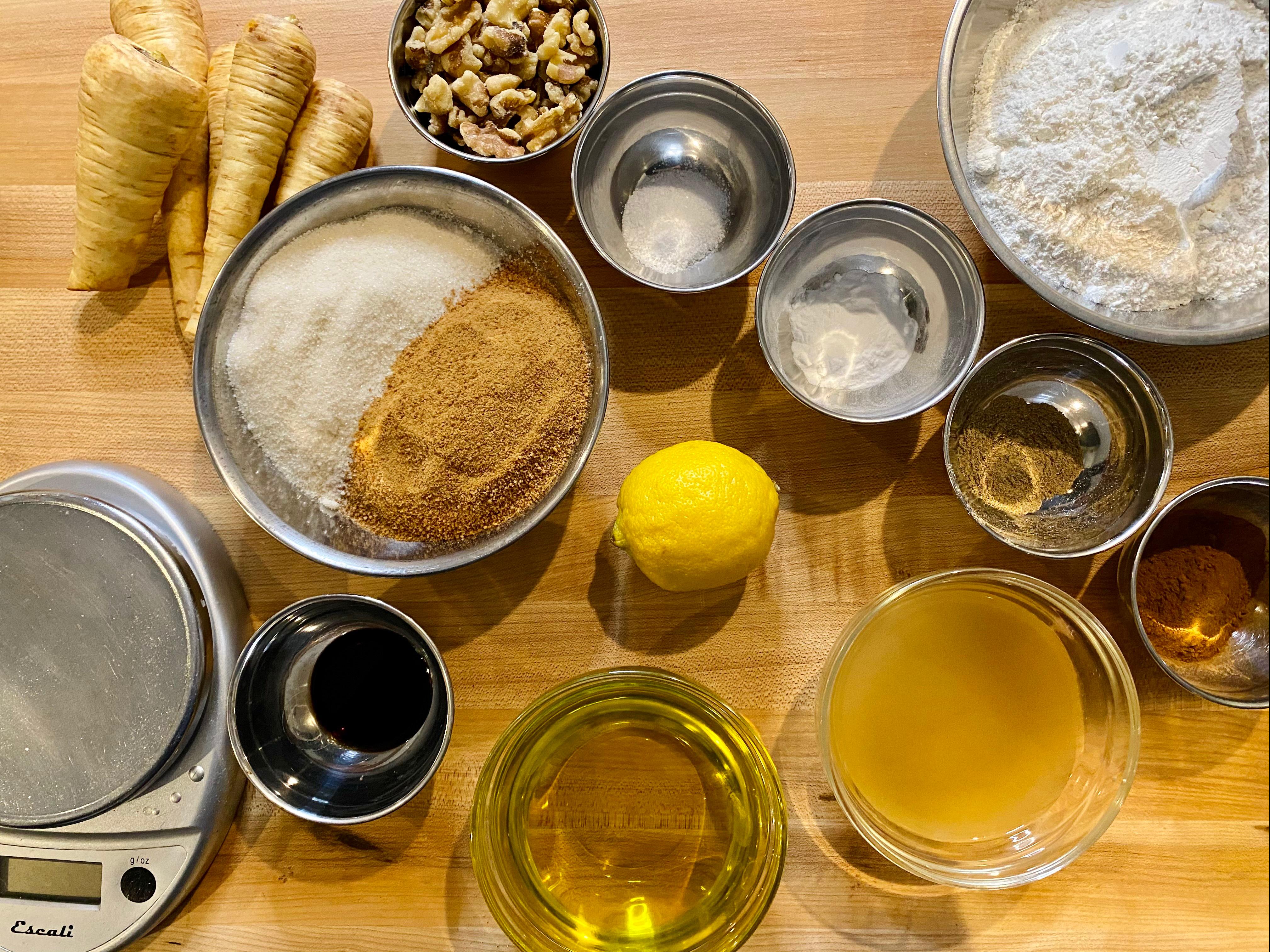 Ingredients for Gluten-free Parsnip Walnut Cake