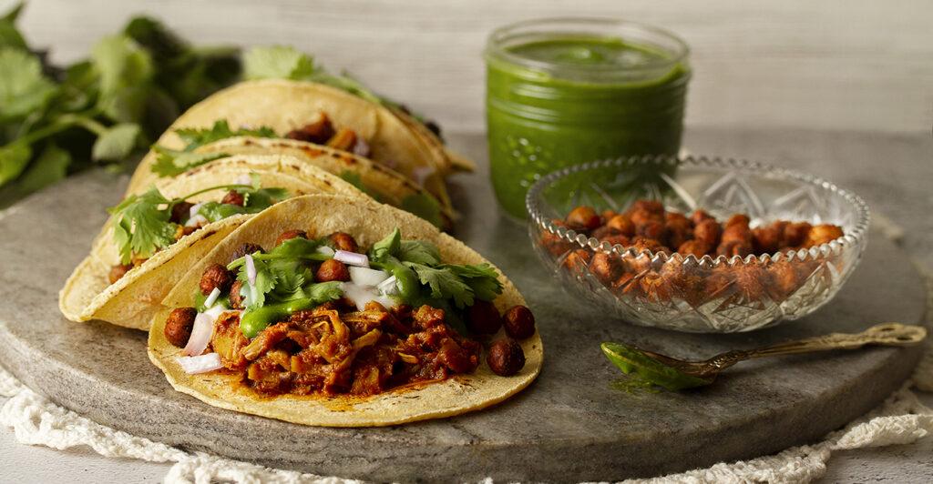 Gluten-free, Vegan Curried Jackfruit Tacos