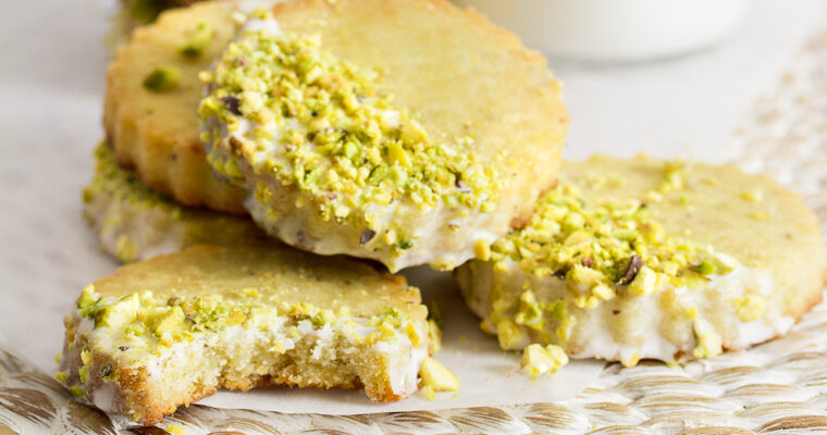 Gluten-Free Pistachio Shortbread Cookies with Rosewater Icing