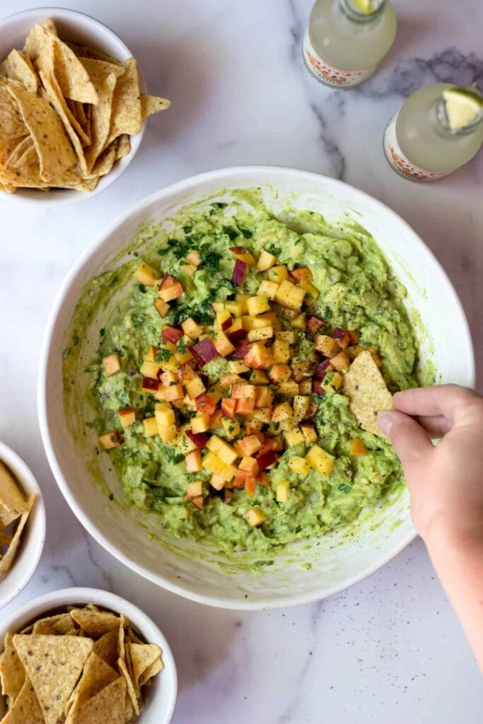 Gluten-free and Vegan Peach Guacamole Appetizer with Fruit